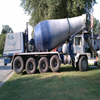 Cement truck pouring concrete at a home near Lansing, Michigan
